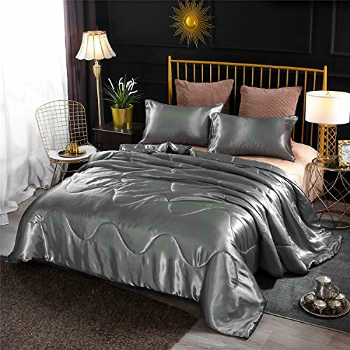 Bedding Sets Queen Clearance Best Comforter Luxury Silky Satin Quilted Gray 3 Ebay