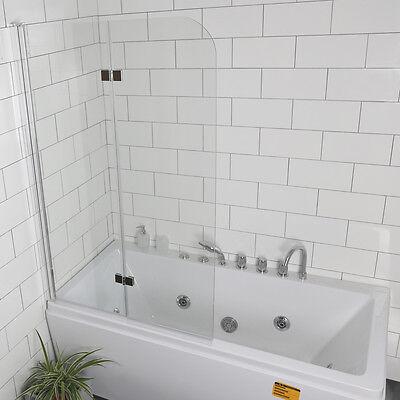 "Fold 33.5""x55.0""Frameless Hinged Shower Bath Door Tempered Glass Bathroom NEW"