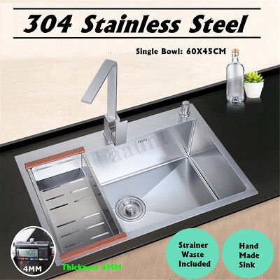 - 23.62'' Stainless Steel Handmade Top Mount Single Bowl Basin Kitchen Sink Home !