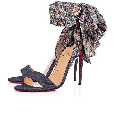 NIB Christian Louboutin Sandale Du Desert 100 Blue Lace Up Sandal Heel Pump 36.5