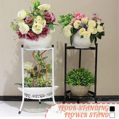 Metal Flower Shelf 2 Tiers Plant Pot Stand Display Rack Indoor Outdoor Wedding -