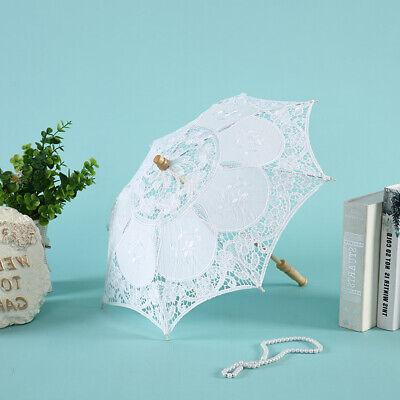 White Lace Umbrella (Vintage 23'' White Lace Embroidered Parasol Sun Umbrella Bridal Wedding)