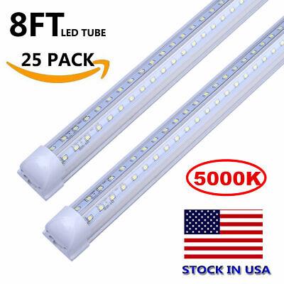 5000K Daylight White 8FT T8 LED Shop Light 72W Integrated V Shape LED Tube -