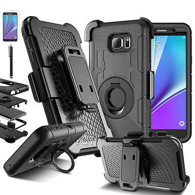 Black For Samsung Galaxy Note 5 Phone Case Cover w/Belt Clip & Screen Protector