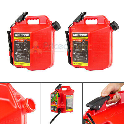 2 Surecan 5 Gallon 19 Liter Self Venting Gas Cans W Rotating Spout Nozzle Red