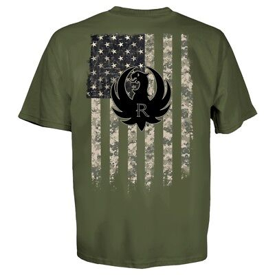 Ruger Military Green Camo Flag Eagle Logo T Shirt Authentic L - 3XL New Licensed