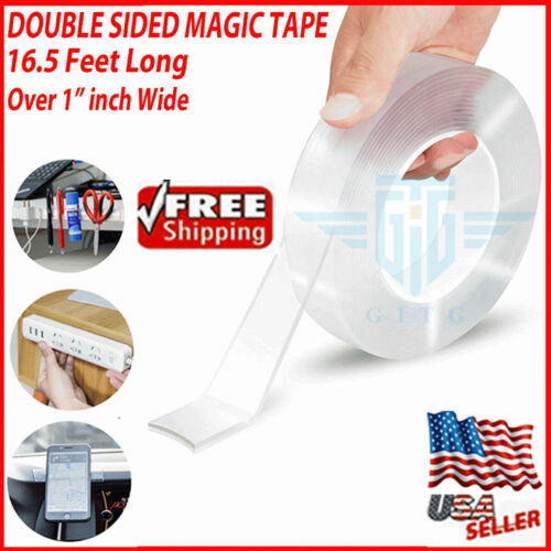 Magic Tape Double Sided Traceless Washable Adhesive Invisible Gel 16 Feet NEW