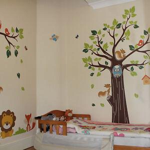Kids Jungle Nursery Tree Animals Birds Owl Vinyl Wall Stickers, Wall Decals