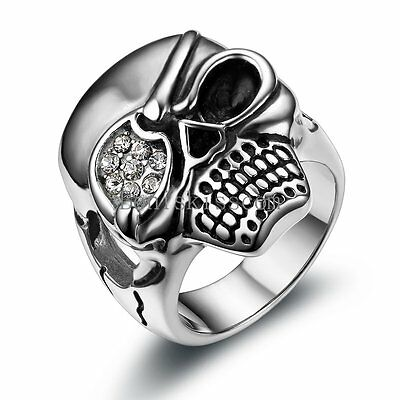 Halloween Gif (One-eyed Skull Men Ring Vintage Black Silver Stainless Steel #9-13 Halloween Gif)