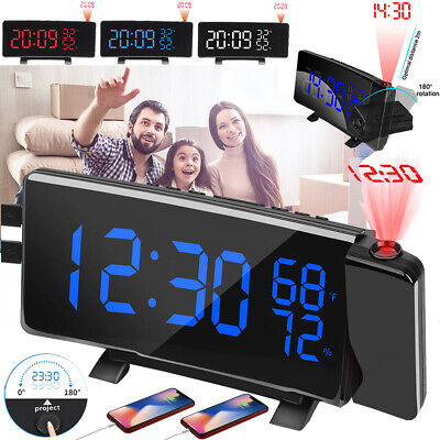 7'' Digital Alarm Clock Projection LED Dual Alarm Radio Snooze USB Charging Port