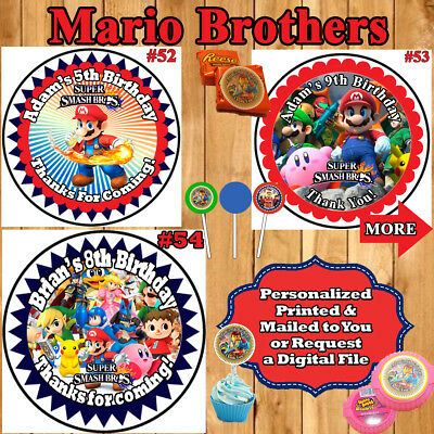 Super Smash Mario Brothers Birthday Stickers 1 Sheet Favor Labels Personalized (Super Mario Brothers Stickers)