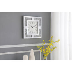 WALL CLOCK MIRRORED CRYSTALS AND GLASS SILVER MODERN LARGE SQUARE ROMAN NUMERALS