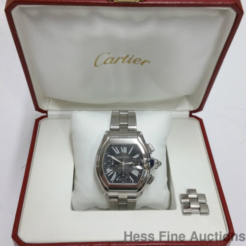 Cartier XL 2618 Roadster Chronograph Automatic Steel Watch For Big Man w Box - watch picture 1