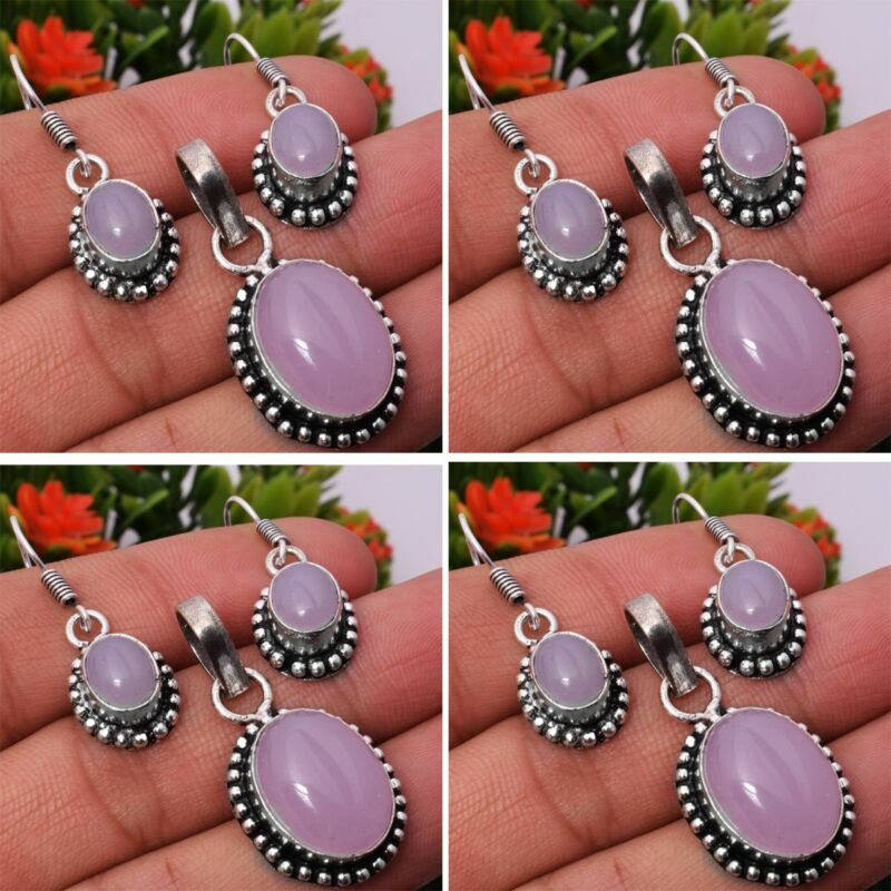 Rose Quartz 2pcs 925 Sterling Silver Plated Pendant Earring Sets Jewelry