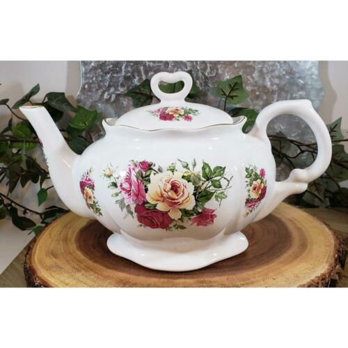 Vintage English Cabbage Roses Teapot made in England