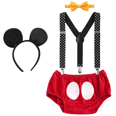 1st First Birthday 4pcs Outfits Baby Boys Mickey Mouse Costume Cake Smash Sets - Mickey Mouse Outfit