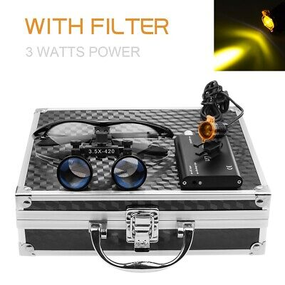 Dental 3w Led Headlight With Filter 3.5x Binocular Loupes Aluminum Box Black