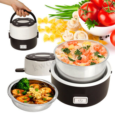 Compact 2 Layer Electric Lunch Box Steamer Pot Rice Cooker Stainless Steel 1.3L