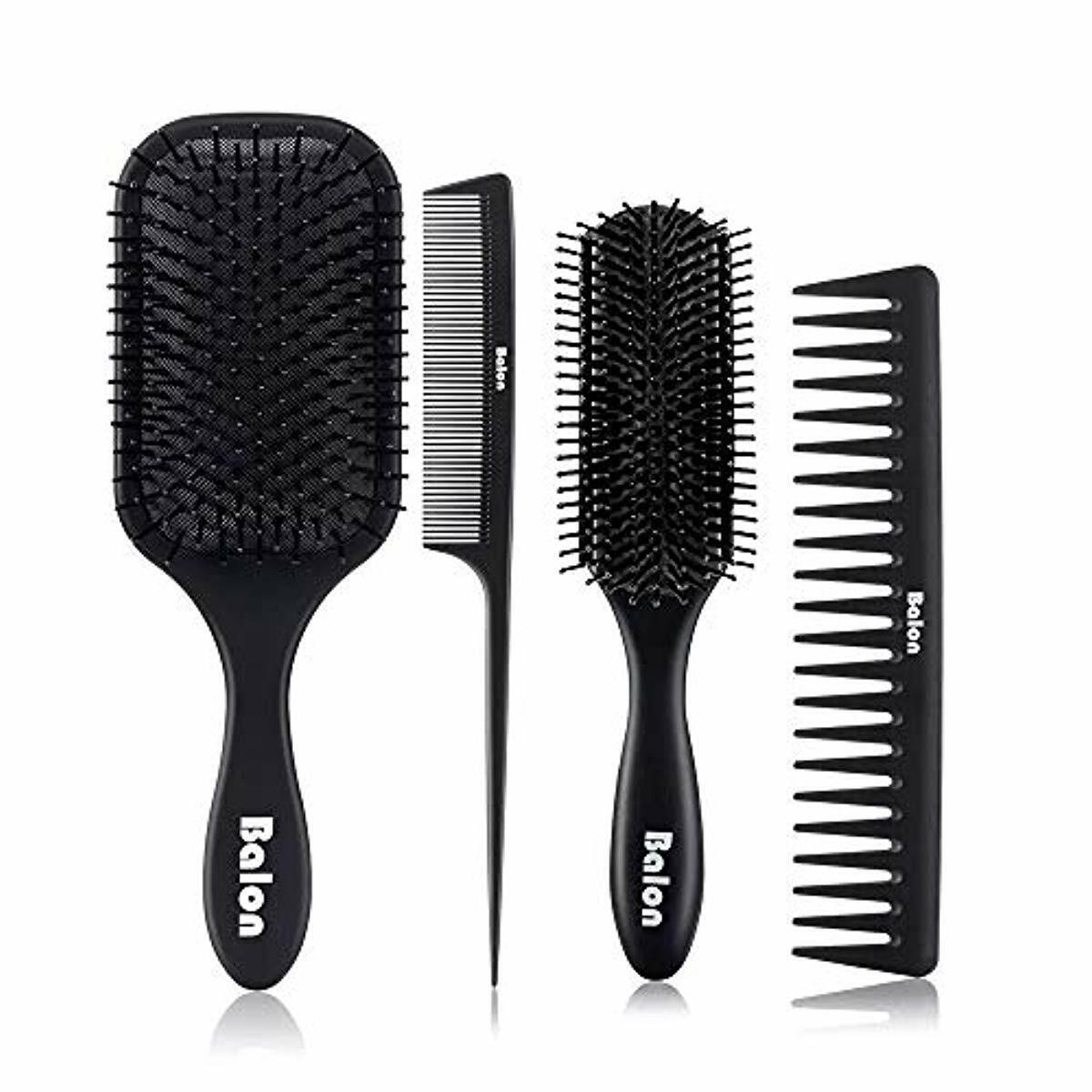 4Pcs Paddle Hair Brush, Detangling Brush and Hair Comb Set f