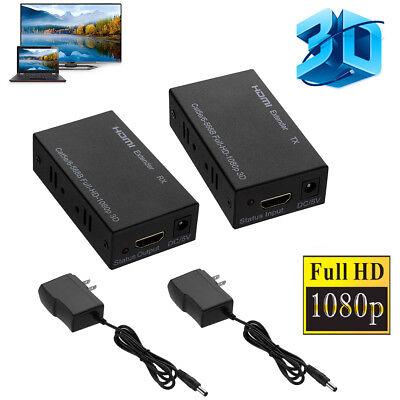 3D 1080P HDMI Network Extender Over Single Cable CAT5E/6 Ethernet RJ45 FHD 60M (Single Cat5 Cable)