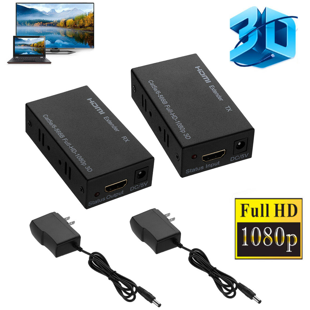 3D 1080P HDMI Network Extender Over Single Cable CAT5E/6 Ethernet RJ45 FHD 60M