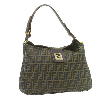 FENDI Zucca Canvas Shoulder Bag Brown Black Vintage Auth ar3746
