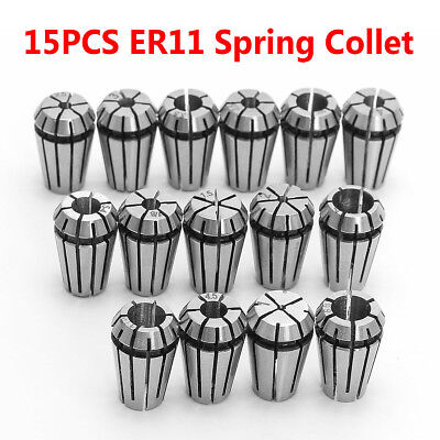 15pcs Er11 Precision Spring Collet Set Milling Lathe Cnc Chuck Bit Holder Tool