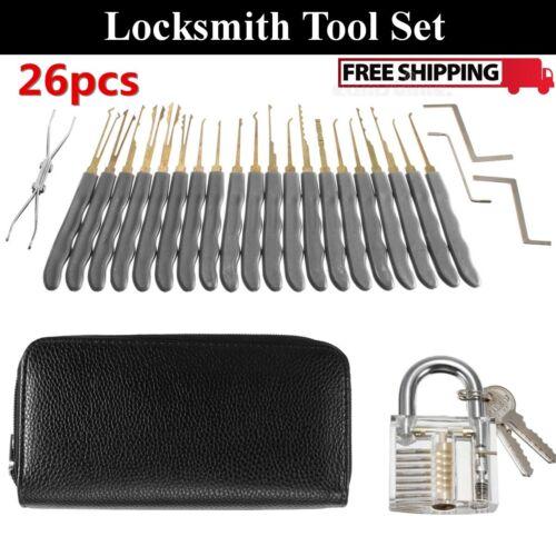 Transparent Practice Padlock with 26 pcs Unlocking Lock Picks Set Key Extractor