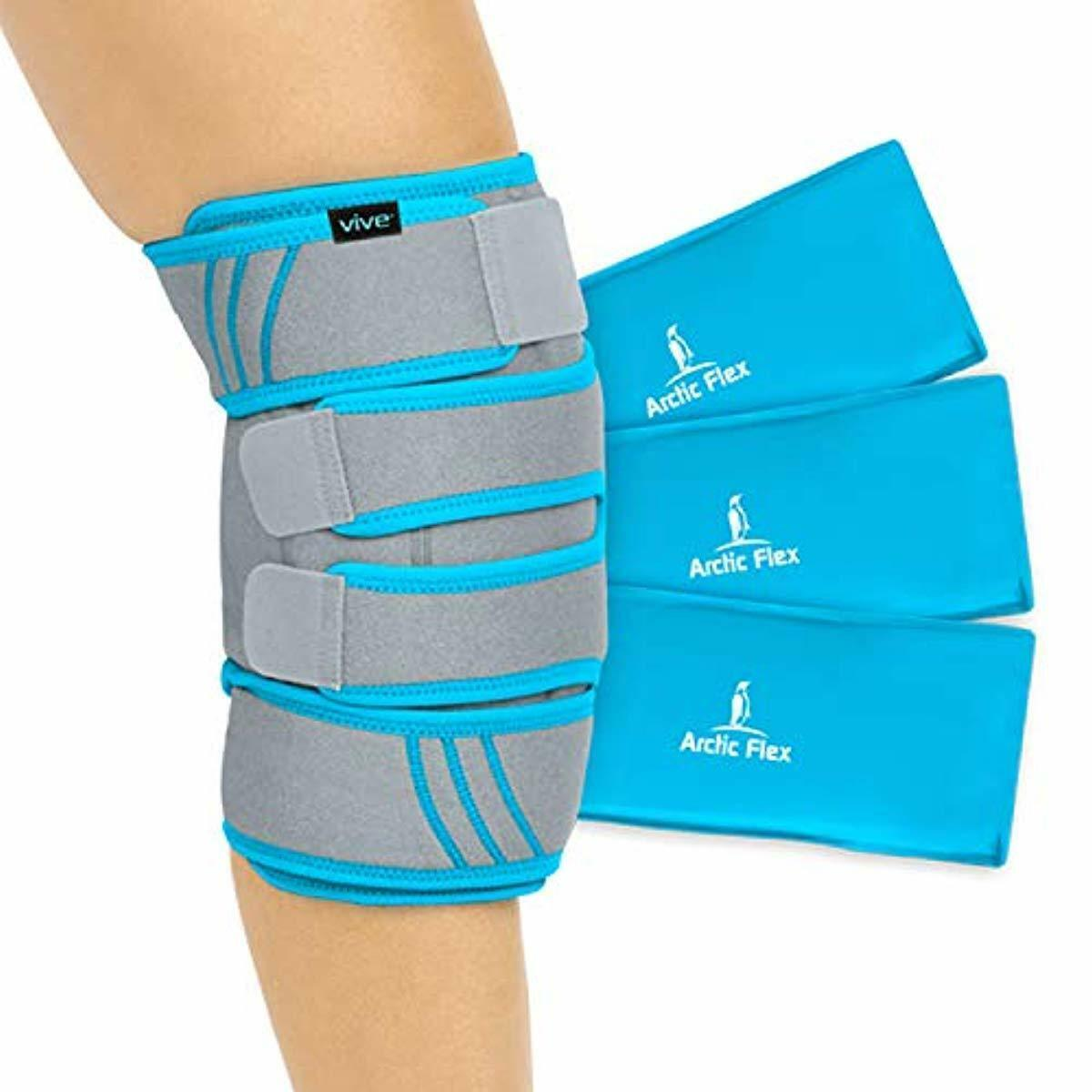 Vive Knee Ice Pack Wrap - Cold/Hot Gel Compression Brace - H