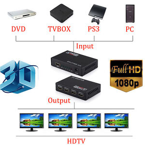 Full HD HDMI Splitter 1*4 4 Port Hub Repeater Amplifier v1.4 1080p 1 in 4 out H