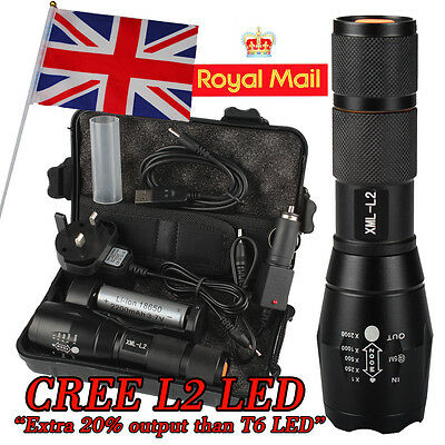 UK 8000LM Shadowhawk X800 CREE L2 LED ZOOM Flashlight Torch Powerful battery