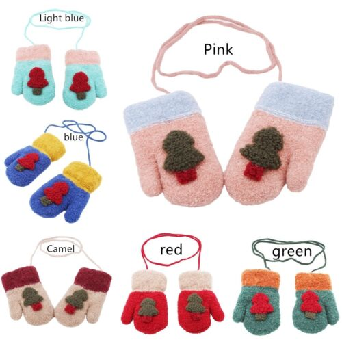 Outdoor Kids Christmas Tree Mittens Baby Knit Gloves Winter