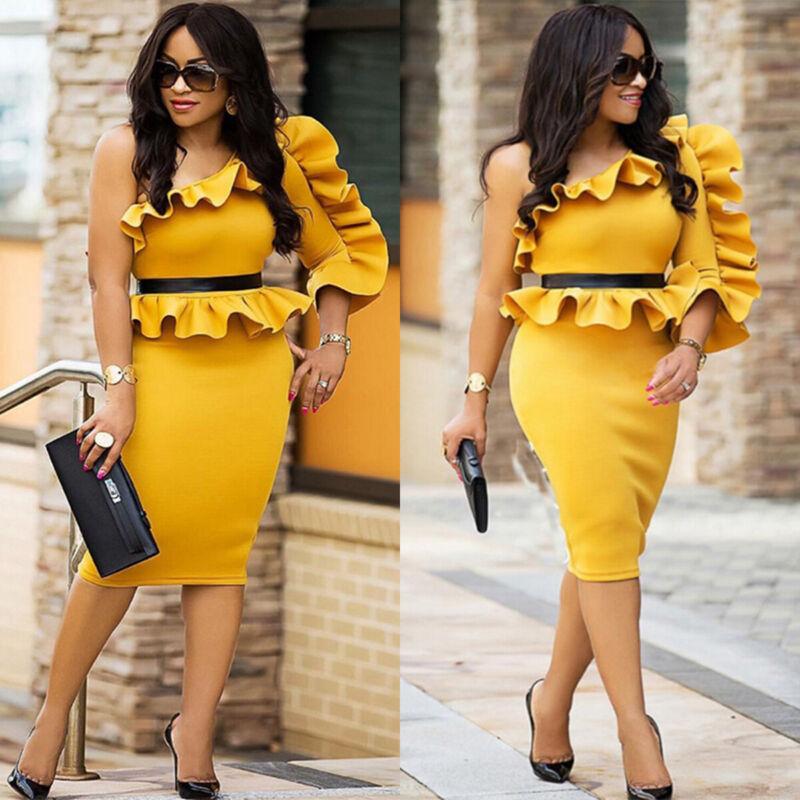 Damen One Shoulder Bodycon Partykleider Abendkleid Midi Bleistiftkleider Kleid