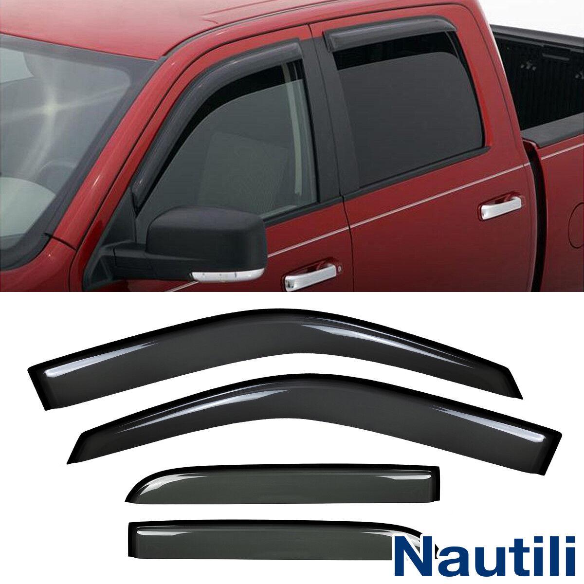 4pcs Sun//Rain Guard Vent Shade Window Visor Fit 09//10-15 Dodge Ram Crew//Mega Cab