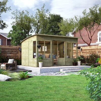 12 x 8 Pressure Treated Verano Wooden Garden Summerhouse with T&G Sunroom...