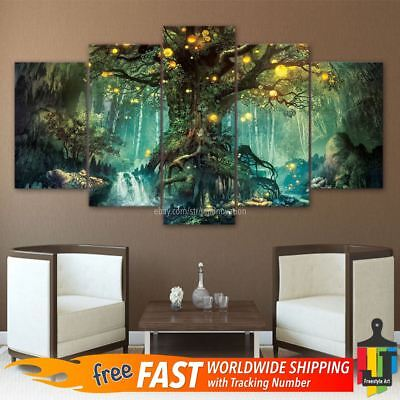 5 Piece Tree of Life Wall Art Hanging Decor Canvas Print Large Painting Pictures ()