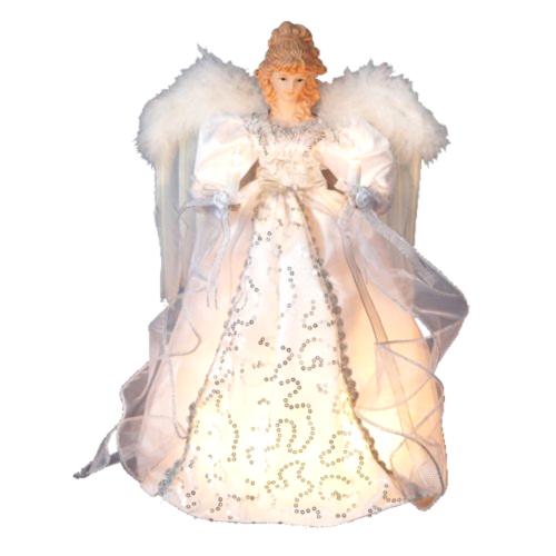 Details About Light Up Christmas Tree Topper Decoration 14 Silver Angel Treetop Kurt Adler