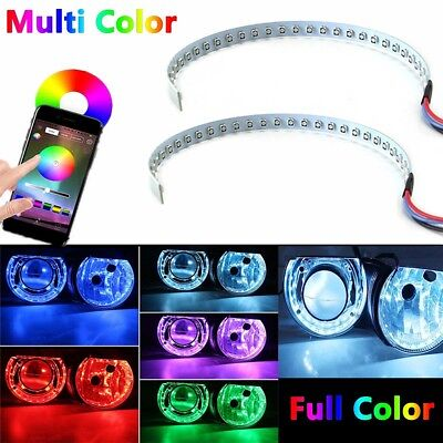 Wireless bluetooth Control RGB LED Demon Eye Halo Ring- Headlight Projector - Led Rings Wholesale