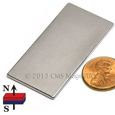 Cms Magnetics N45 Neodymium Magnet Flat Rectangular 2x 1x 116 10-pc