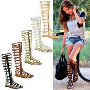 LADIES-WOMENS-KNEE-HIGH-GLADIATOR-SANDALS-CUT-OUT-FLAT-STRAPPY-SUMMER-SHOES-SIZE