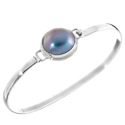 OPULENT BLUE MABE PEARL 925 STERLING SILVER CUFF BANGLE -
