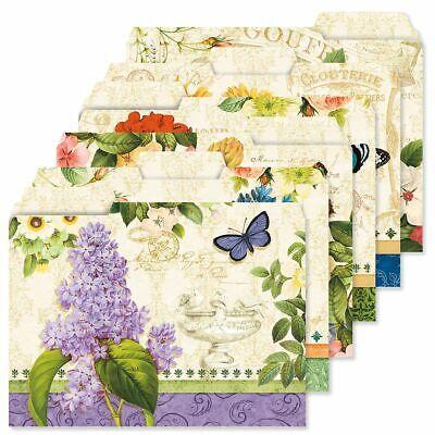 Decorative Grand Fleur File Folders Colorful Designs Set Of 24 Documents Storage