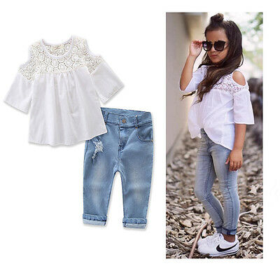 2PCS Toddler Kids Baby Girl Lace T-shirt Tops + Denim Pants Jeans Clothes Set