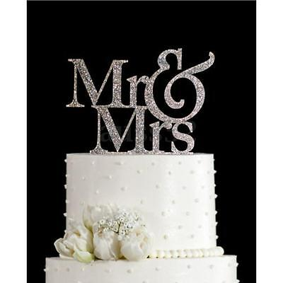 Mr&Mrs Romantic Silver Shiny Cake Topper Wedding Party Top Letter Decor 3.9'' (Wedding Cake Tops)