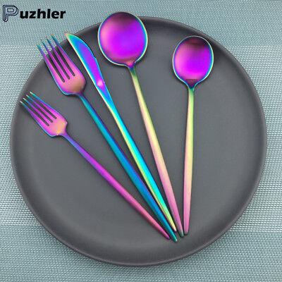 Stainless Steel Flatware Set Matte Multi-color Spoon Fork Knife Cutlery 20pcs Color 20 Pcs Flatware Set