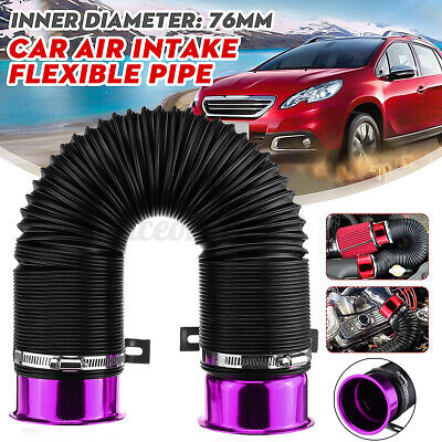 76mm Car Air Intake Pipe Flexible Cold Feed Hose Inlet Duct Induction Kit Filter