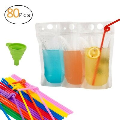 Bag for Juice 80 Pcs Drink Pouches with 80 Straws Plastic Drink Containers