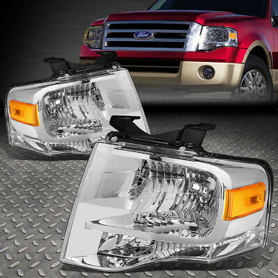 FOR 2007 2014 FORD EXPEDITION PAIR CHROME HOUSING AMBER SIDE HEADLIGHTLAMP SET