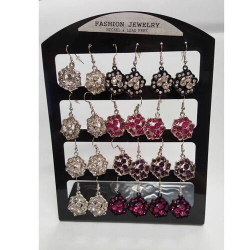 12 pairs Metal Flower Stone Earrings Lot Hoops Hook Drop Dangle Card Jewelry