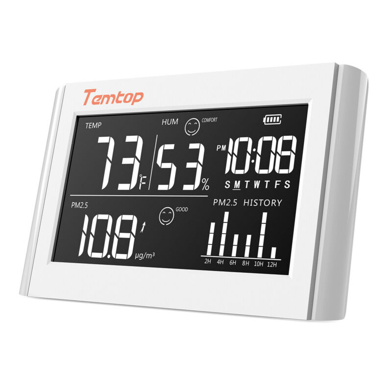Used Temtop P20 PM2.5 Air Quality Monitor Temp Humidity Monitor Data Export